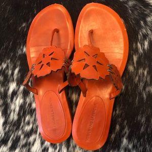 Vera Wang Lavender Orange leather sandal, 6.5